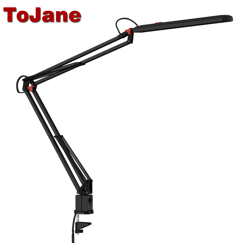 ToJane TG988 LED Desk Lamp Portable Clamp Exclusive Eye-Care 3-Level Brightness&amp;Color Touch Control Clip-on Clamp Swing Ar<br>