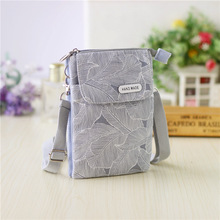 Canvas leaves printing women mini handbag ladies small shoulder crossbody phone bag female money pouch bolsa feminina for girls