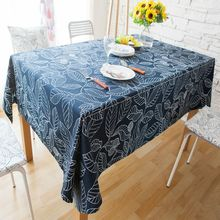 Geometric Leaves Table Cloth Rectangular European Style Printed Blue White Tablecloth High Quality Cotton Polyester Table Cover
