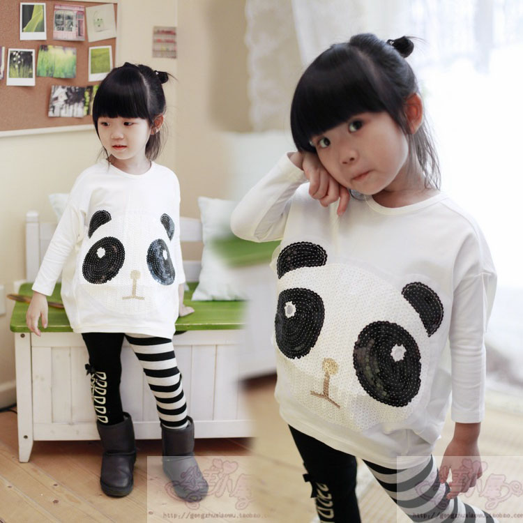 Female child set autumn paillette 100% loose cotton ball long-sleeve T-shirt stripe legging<br><br>Aliexpress