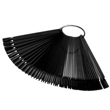 50 Pcs Nail Art Display Tips Polish Manicure Tools False Stick Practice Training Round Hoop Wheel UV Gel Black Fan Shaped Board(China)