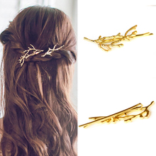 1 Pair Women Punk Hair Accessories Jewelry Vintage Fancy Metal Silver Gold Color Plant Hair Barrette Hairpin Branch Hair Clip