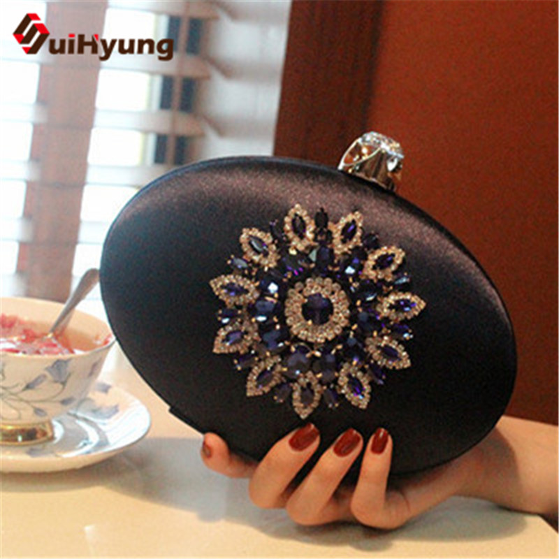 New Women Satin Clutch Bag DIY Crystal Flower Oval Hard Case Day Clutches Ladies Evening Bag Woman Shoulder Handbag Bolsas<br><br>Aliexpress