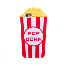 2017 The Newest Fashion cartoon food classic pop corn letter stripe bucket soft silicone cell phone case cover skin For Iphone(China)