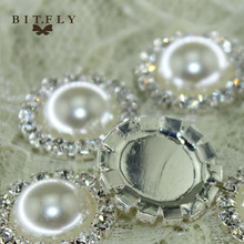 HOT SALE Beautiful ivory Rhinestone pearl Button 30pcs/lot 18mm,Wedding dress invitation hair decoration,high quality and price(China)