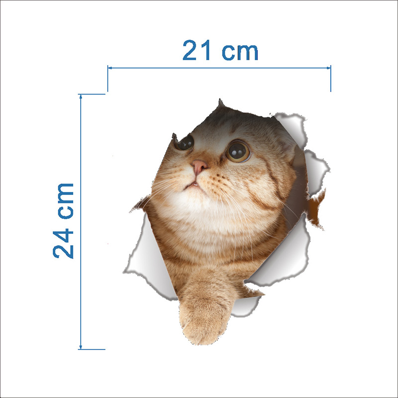 Cartoon animal 3d toilet stickers on the toilet seat cute cats PVC wall sticker bathroom refrigerator door decor stickers decals (11)