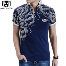 2017 New Men POLO Shirt Fashion Flower Print Polo Homme Slim Fit Short-sleeve Camisa Polo Men Summer Tops&Tees MT497(China)