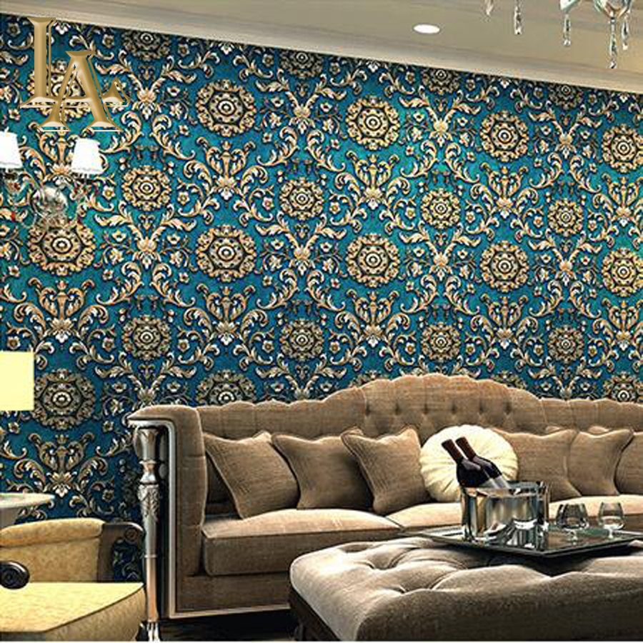 Non-woven Flocking Grey Brown Damask Wallpaper 3D Murals Bedroom Living room Background Wall Decor Vintage Wall paper Rolls W177<br><br>Aliexpress