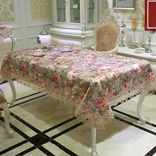 New Arrive Luxury High Quality Cotton Jacquard Floral Lace Tablecloth Elegant Europe Pastoral Table Cloth Towel Covers