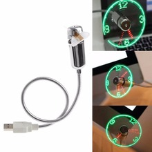 40CM Cooling Flexible USB Powered LED Flashing Time Display Function Clock Fan