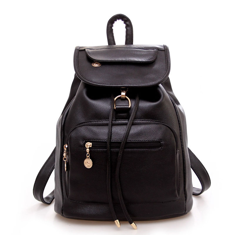 High Quality PU Leahter Backpack School Travel Bag Backpack Women Famous Brands Backpack Bolsos Mujer Vintage Backpacks Black(China (Mainland))