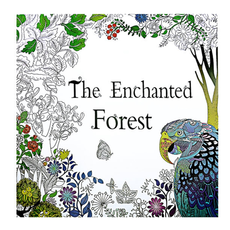 The Enchanted Forest Book Coloring for Adult Kid Painting Antistress Mandala Secret Garden Quiet Color Drawing 25*25cm  24Pages(China)