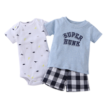 2017 Promotion Rushed Full Baby Boy Summer Clothes Set For Bebes Newborn 3pcs Of Clothing Infant Soft Cotton T-shirt And Shorts(China)