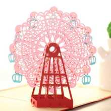 Valentine's Day gift pink Color 15*15CM Papercraft Pop-Up 3D Ferris Wheel Valentine Cards May Love Goes Round And Round