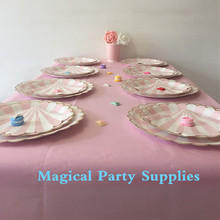 Modern Pink Stripe Gold Flower Tableware Set  with Pink Table Cover Table Plates Napkins Wedding Sweets Dining Table Decor