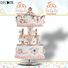 Windup 3-horse Carousel Music Box 4 colors optional Artware birthday Gift Melody Castle in the Sky home decor wedding souvenirs