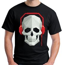 2017 Fashion  Mens Skull & Headphones T Shirt DJ Rave Festival Music Casual Short Sleeve Shirt Tee 100% Cotton Short Sleeve
