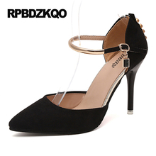 Plus Size 31 43 44 45 13 Pumps 9CM 4 inch Ultra High Heels Studded Sexy Shoes Black Point Toe Ankle Strap Women Stiletto 2017