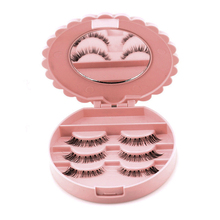 Plastic Flower Eyelash Storage Case Makeup Cosmetic Mirror Organizer Ladies Fashion False Eyelash Pink Box Organizer IC971903