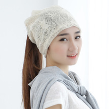 Hat female summer and winter version breathable lace scarf head cap manufacturers wholesale women Skullies & Beanies(China)