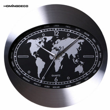 Homingdeco Wall Clock Modern Design Brief Durable Elliptical World Map Dial Wall Clock Creative Aluminum Alloy Hanging Clock(China)