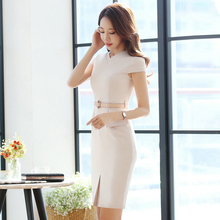 Professional Women dress  Business Ladies Office Work  Autumn self-cultivation formal dres short sleeve ol professional dress