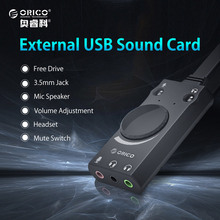 ORICO External USB Sound Card Stereo Mic Speaker Headset Audio Jack 3.5mm Cable Adapter Mute Switch Volume Adjustment Free Drive(China)