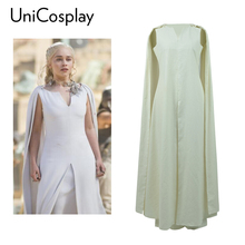 Game of Thrones Daenerys Targaryen White Dress Cosplay Costume Woman Party Dance Christmas Evening Fancy Dress White With Cloak