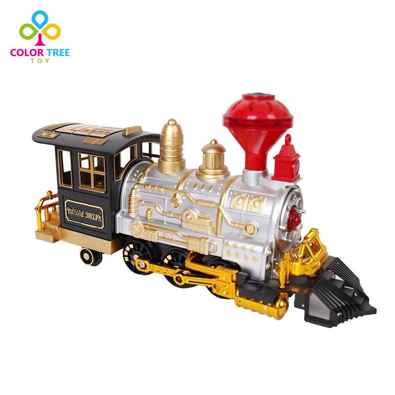 Kids Cute Train Model Electric Classic Smoke Music Lights Train Set Toy for Kids Realistic Sounds(China (Mainland))