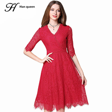 H han queen Red Lace Dresses Womens V-neck Hollow Out Femme Casual Slim Sexy Work Party Dress Europe Summer Plus Size Vestidos