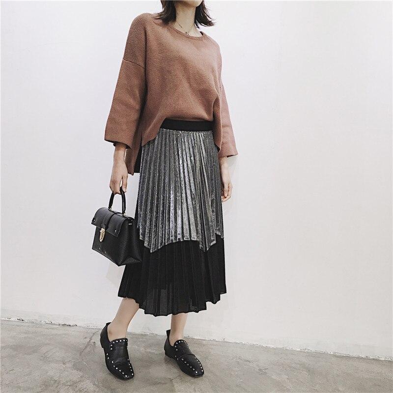 [GUTU] Autumn Summer 2018 Korean New Fashion Patchwork Color Bottoms All-match Elastic Waist Pleated Skirt Loose Women F89201 44