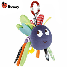 Sozzy 0M+ New Baby Plush Toy Colorful Bee Crib Bed Hanging Ring Bell Toy Soft Baby Rattle Early Educational Doll(China)