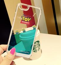 Cute Cartoon Hard Plastic So Clear Transparent Soft edge Blue Liquid Toy Story Case Cover For iPhone 5 5s SE 6 6S 7 Plus(China)