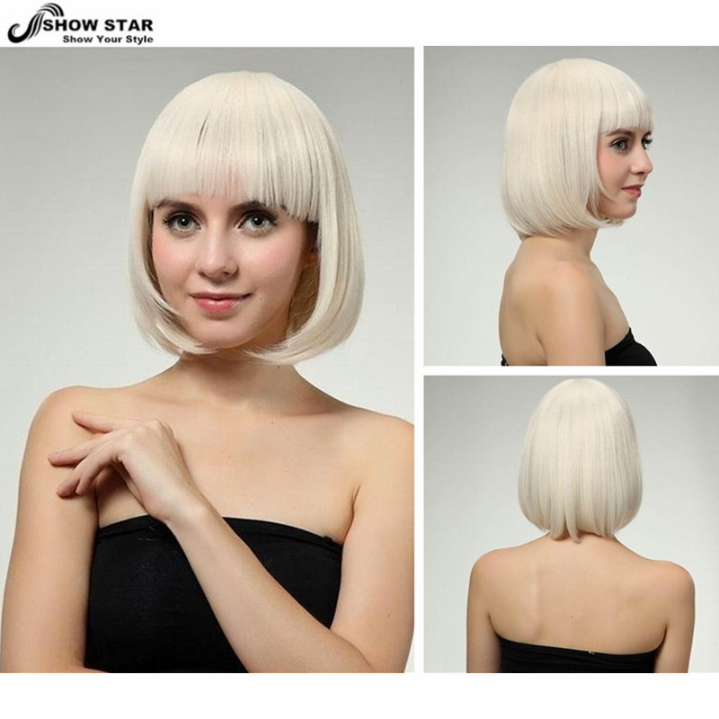 Hot Sale Light Blonde Short Bob Wig with Neat Bangs Straight Wig for Women Peluca Peruca Perruque Synthetic Party Wig Cosplay <br><br>Aliexpress