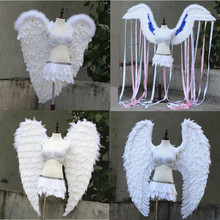 2017 White and black angel wings props catwalk show prop festival Angel Feather wings Window props underwear catwalk supply