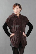 Womens Knitted Rabbit Fur Vest Hooded Woolen Gilet with Side Buttons Waistcoat With Hood Fashion Outwear AU00252