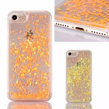 New Dynamic Liquid Glitter Sand Quicksand Love Case For iphone 7 / 7 Plus Crystal Clear Transparent Phone Back Cover