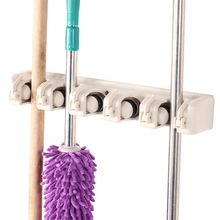 Kitchen 5 Position Wall Mounted Hanger Storage Mop Broom Holder Tool Plastic Brush Broom Organizer