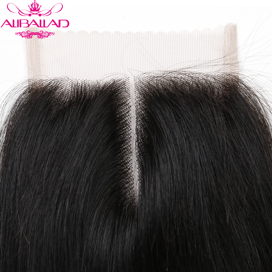 Aliballad Brazilian Straight Middle Part 4x4 Lace Closure 10-20 Inch Non-Remy Hair Natural Color 100% Human Hair Free Shipping4