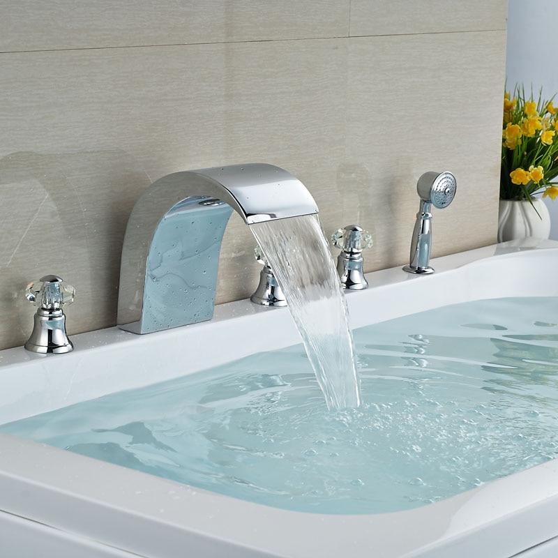 Luxury Widespread 5pcs Waterfall Bathtub Mixer Faucet Deck Mount Tub Filler Chrome Brass Handheld Shower<br><br>Aliexpress