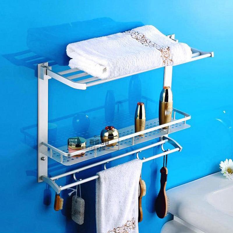 50 cm Aluminum 3 Layer Multi-Functional Bathroom Shelf  With Towel Racks Bar Hooks Shower Basket Shelves Storage  806316<br><br>Aliexpress