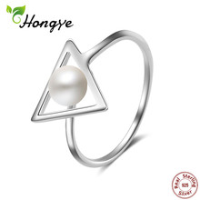 Hongye 100% Natural Pearl Rings 925 Sterling-silver-jewelry,Simple Triangle 6mm Freshwater Pearl Ring ,Party Gift,Free Shipping