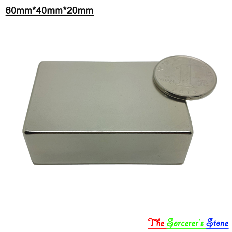 1pcs Super Strong 60x40x20mm   Rare Earth Neodymium Block Magnet   Free Shipping<br>