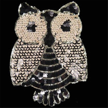 1Pcs Fashion Designs 24cm Owl Golden Logo Embroidered Patches Clothes Sequins Patch DIY Hotfix Motif Applique Free Shipping(China)
