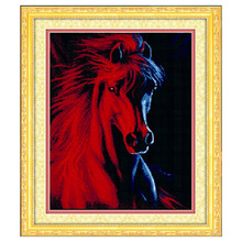 Needlework, DIY DMC Cross Stitch , Counted Embroidery Kits, 3D Red horse Pattern Cross-Stitching In Stock Hot Sale