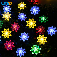 LMID Solar LED Lamp Outdoor Waterproof Lotus Flower Decoration Christmas Garden Holiday Solar Power String Lights(China)