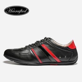 Tamaño 36 ~ 47 genuino hombres de cuero zapatos de moda 2017 de calidad superior original Hecrafted zapatos de marca Casual #9955