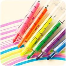 6 PCS  Cute Kawaii Novelty Nurse Needle Syringe Shaped Highlighter Marker Marker Pen Stationery School Supplies