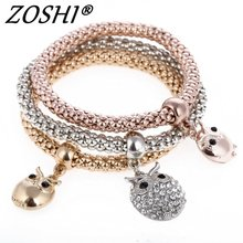 3 Pcs/Set Crystal Owl Crown Charm Bracelets&Bangles 3 Color Rose Gold Color Elephant Anchor Pendants Rhinestone Bracelet Women(China)