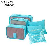 Mara's Dream 6pcs Polyester Packing Cube Women Travel Bag Waterproof Luggage Clothes Tidy Pouch Organizer Large Capacity Durable(China)